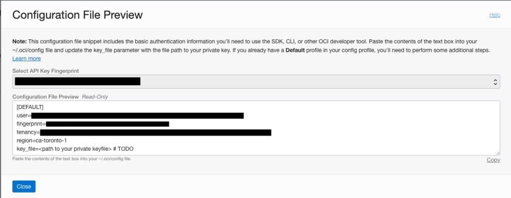 Oracle Cloud Configuration File Preview