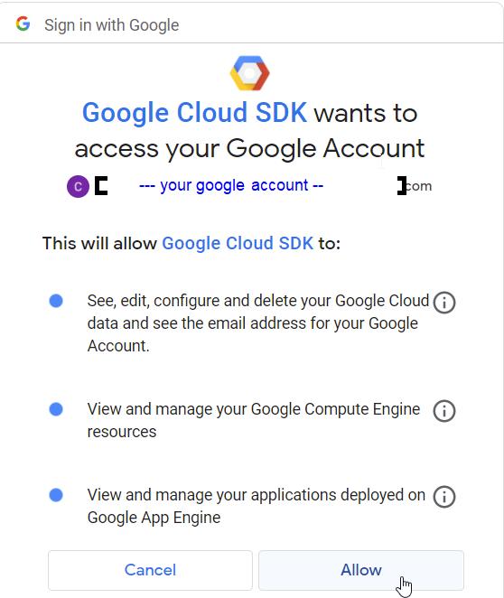 Google Cloud SDK Signin
